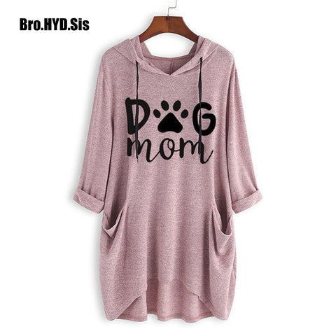 Cute Dog Mom Letter Print Ladies Pullovers Sweatshirts Women Knit Long Hoodies Spring Autumn Girls Woman Pink Tops Asia Size