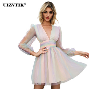 Sexy Deep V Neck Rainbow Spinning Banquet Woman Dress 2020 Autumn Winter Mini Party Dress Women Vintage Casual Slim A Line Dress
