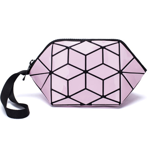 2021 New Women Makeup Bag Clutch Luminous Cosmetic Bags For Ladies Geometric Cosmetic Organizer Purse Women Travel Makeup Bag