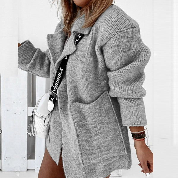 Women Solid Turn-Down Collar Knitted Sweater Autumn Casual Long Sleeve Pockets Cardigan Top Elegant Loose Female Sweaters Jumper