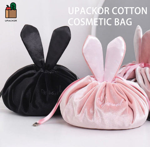Upackor Cotton Cosmetic Bag Cute Soft Rabbit Ear Girl Makeup Case Accessories String Storage Box For Girl Gift And Travel