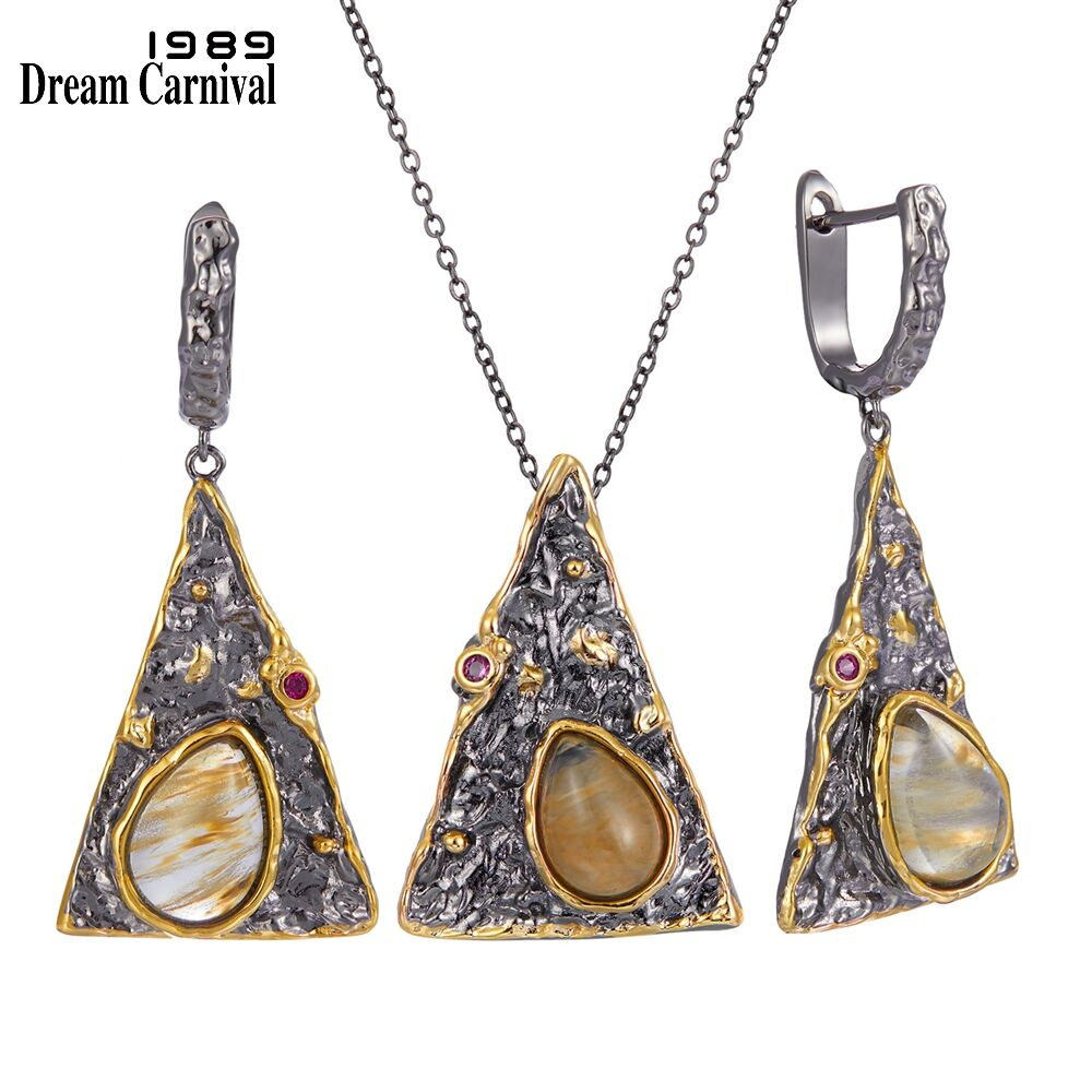 Dream Carnival  New Arrivals Women Pendant Necklace Earrings Set Pyramid Look Watermelon CZ Jewelry Black Gold Color