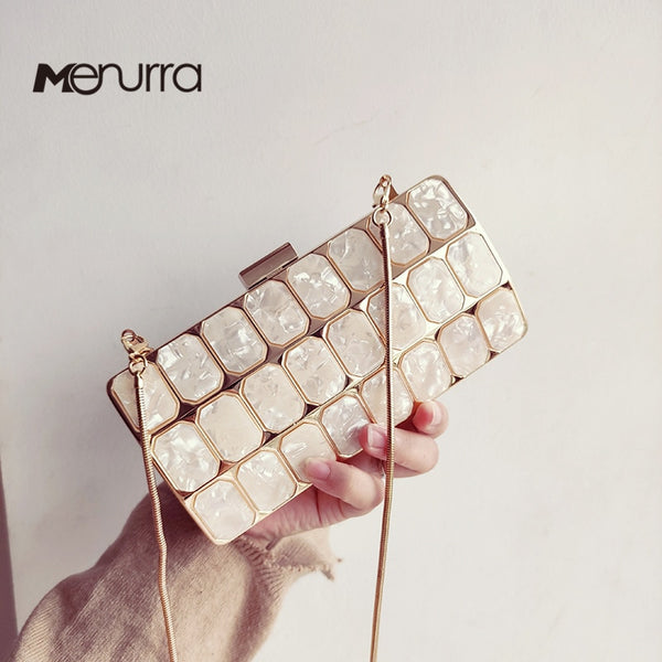 Women Evening Bag Acrylic Marble Handbags Glitter Party Clutch Luxury Square Party Wedding Bags Casual Vintage Box Clutch