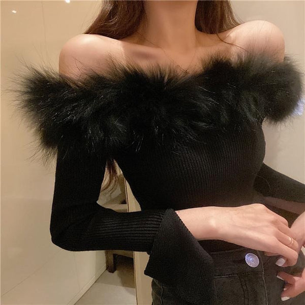 Sexy off shoulder Fashion Fur Tank Top Casual Candy Colors Knitted Crop Top 2021