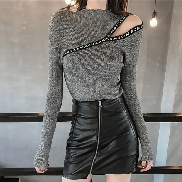 shintimes Letter Appliques Off Shoulder Sweater High Elastic Sweters Women Invierno 2020 Korean Style Women Pullover Pull Femme