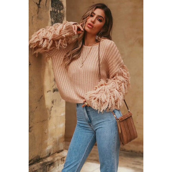Autumn Winter Women Casual Tassel Knitted Sweater Pullover Loose Army Green Sweater Female O-neck Jumper Pull Femme