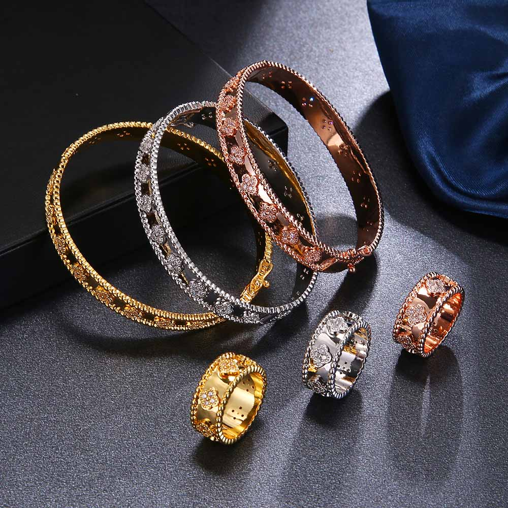 Women's bracelet and bangle ring two piece set high quality 3A zircon kaleidoscope plant flower noble jewelry female jewelry