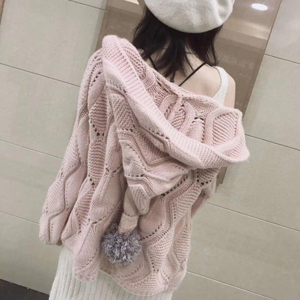 Cardigan Sweaters Tops Women 2021 Autumn winter New Knit Loose Casual Solid Color V-neck Long sleeve Sleeves Button Jacket