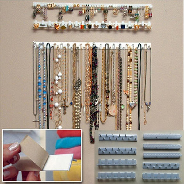 Jewelry Display Rack 9-in-1 Jewelry Display Organizer Adhesive Paste Wall Hanging Necklace Hanger 40FP19