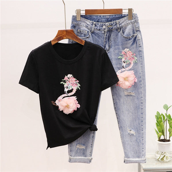 LUOSHA Women 2020 2Pcs Summer Stylish Embroidery 3D Flower Short Sleeved Tshirt+Heavy Work Jean Rippered Hole Denim Pants Suit