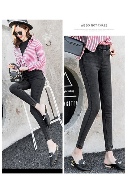 Lace Skinny Jeans Woman New Autumn Fashion Boyfriend Washed Elastic Denim Trousers Pencil Slim Capris Pants Imitation Jean Femme