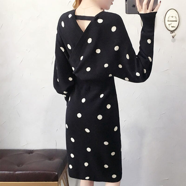 Elegant OL Work wear Dot Jacquard Knitted Dress Sexy V-neck Batwing Sleeve Slim Above knee Pencil Sweater Dress