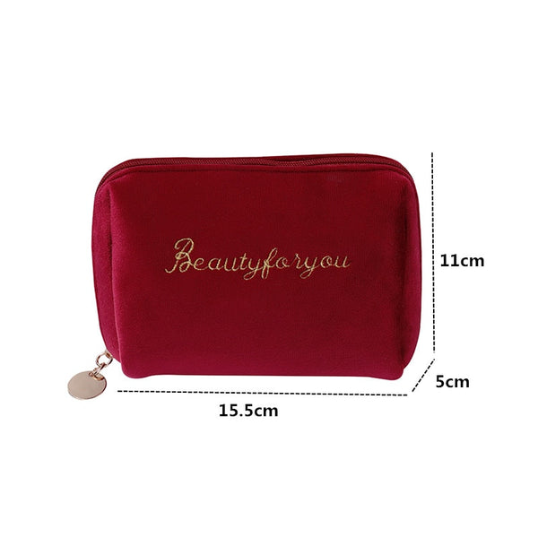 PURDORED 1 Pc Women Zipper Velvet Make Up Bag Travel Large Cosmetic Bag for Makeup Solid Color Female Make Up Pouch Necessaries