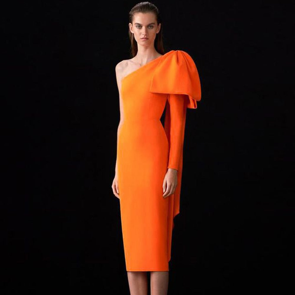 Ocstrade Runway Bowknot One Sleeve Bandage Dress 2021 New Women Sexy One Shoulder Bandage Dress Bodycon Orange Club Party Dress