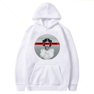 Fight Like A Girl Print Hoodies Women Graphic Autumn Winter Vogue Hooded Sweatshirt Pocket Loose Long Sleeve Pullovers Female