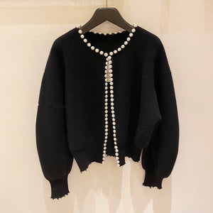 2021 New Fashion Korean Jackets Pearls Cardigan Batwing Sleeve Wool Knit Vintage Women's Coat High Quality Jacket AQ927