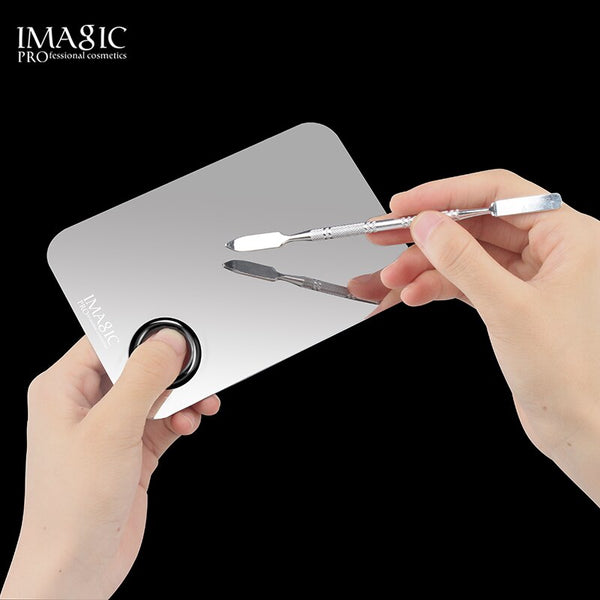 IMAGIC Professional Makeup Palette Tray Mixed Paint Stainless Steel Oil Paint Palette Watercolor Oil Painting Art Makeup Tools
