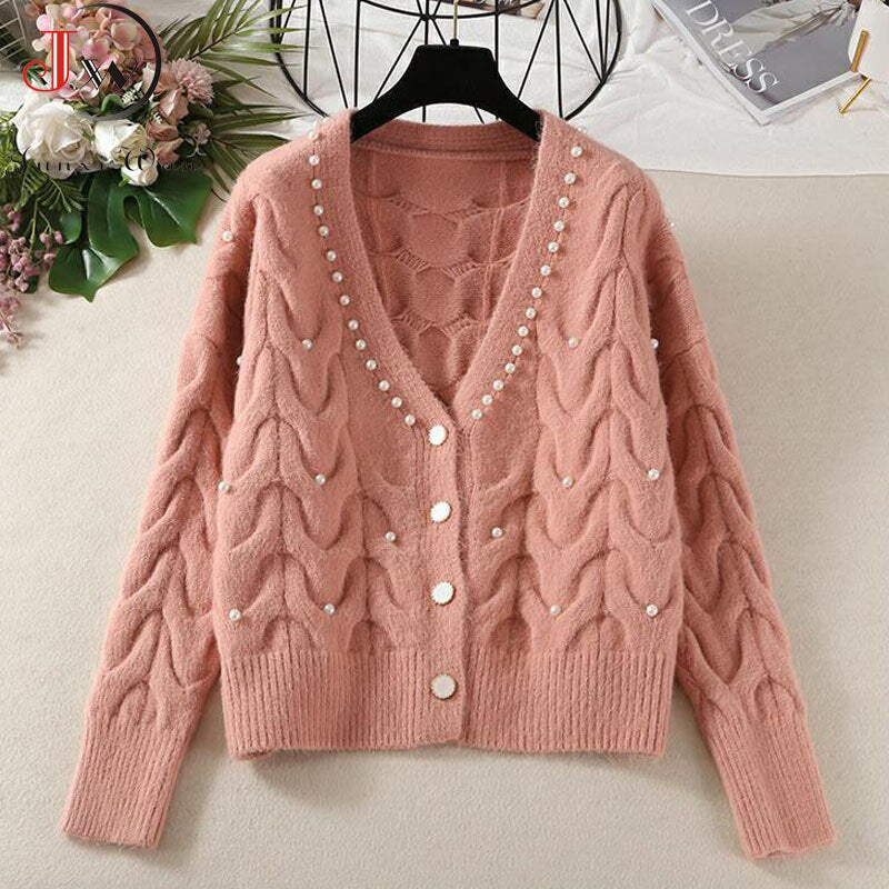 Cardigans Women Knitted Sweater Autumn Winter Long Sleeve V neck Jumper Fashion Sweet Beaded Cardigans Casual Streetwear Sweater