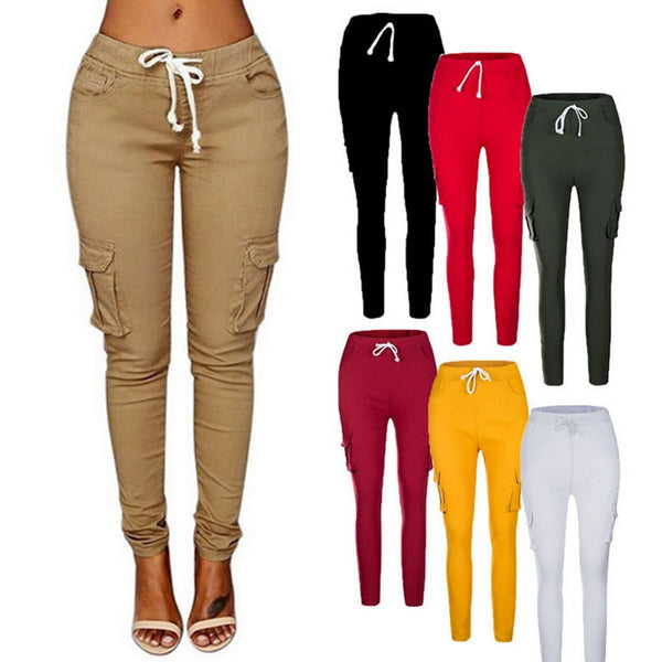 Women Pants Fitness Solid Trousers Casual Female Multi-Pockets Drawstring Tie Trousers Slight Pencil Pants Oversized 2021