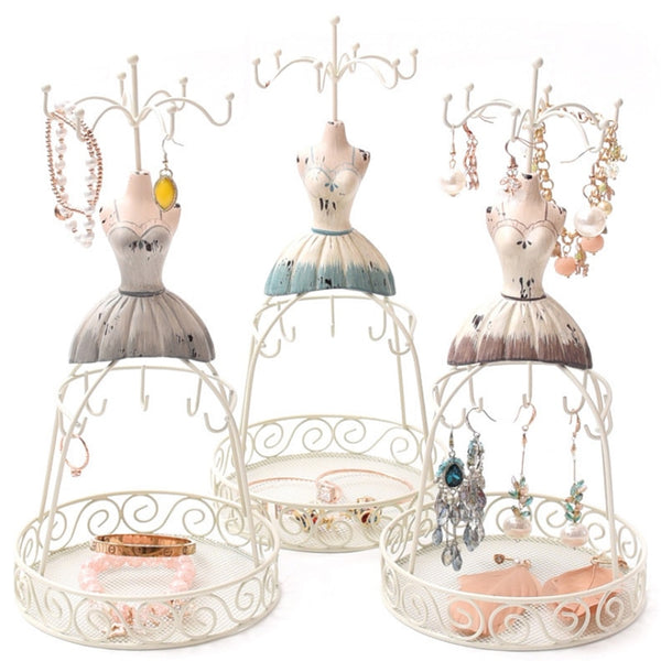 Mannequin Jewelry Display Stand Organizer Spinning Tower Form Resin Dress