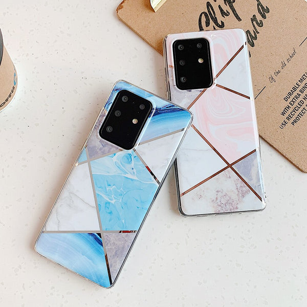 LOVECOM Phone Case For Samsung Galaxy S20 Plus S20 Ultra S10e S10 Plus S9 S8 Plus Electroplated Marble Soft IMD Back Cover Coque