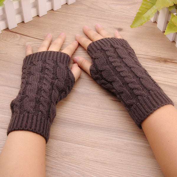 Fashion Women Winter Gloves Wrist Hand Warmer Knitted Long Fingerless Gloves Mitten Moto Stretch Solid Touch Screen Gloves#p30