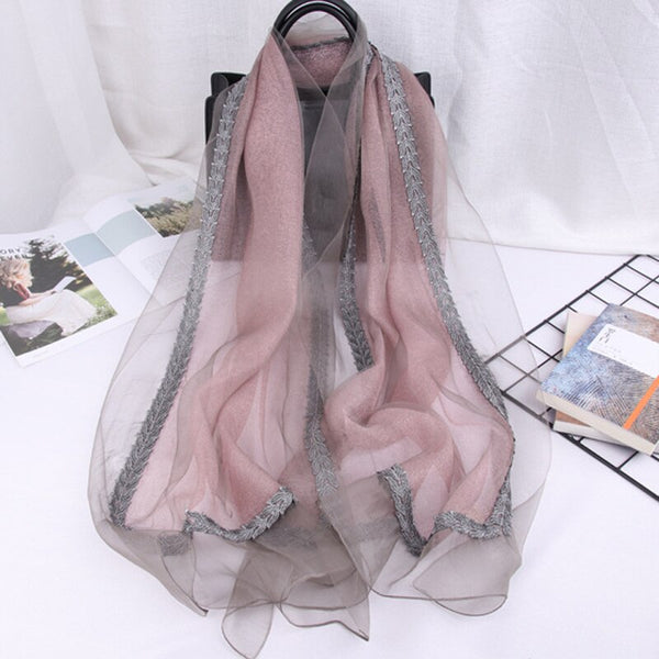 2019 Silk Scarf Shawl Women Silk Wool Scarf With Lace High Quality Antumn Winter Women Scarf Mother Gift