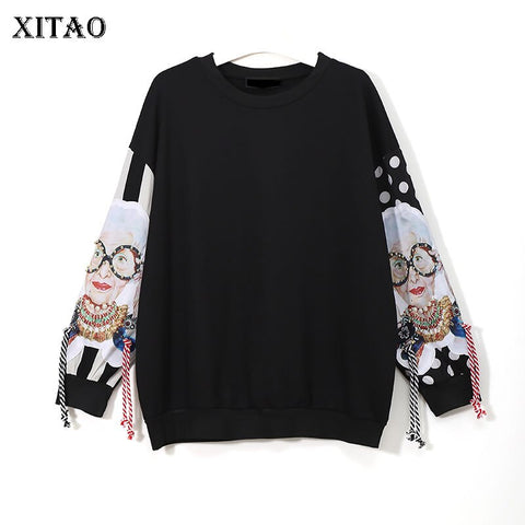 XITAO Black Long Sleeve Sweatshirts Women Patchwork Print Tassel Pullover Harajuku Hoodie Pullover Women Clothes New