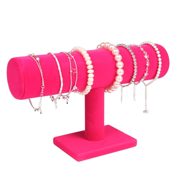 Hot Sales Portable Velvet/PU Leather Bracelet Bangle Necklace Display Stand Holder Watch Jewelry Organizer T-Bar Rack dg88