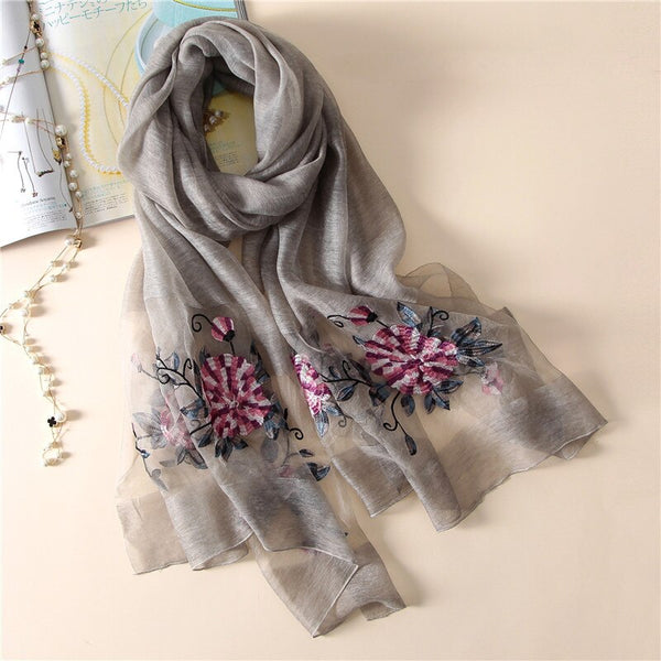 New silk scarf women 2020 fashion Stereoscopic embroidered silk scarves high quality shawl wrap winter neck scarf femme hijab
