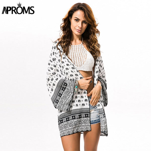 Aproms Elephant Print Beach Kimono Women half Sleeve White Blouses Fashion Sunscreen Cotton Cardigan Summer Tops Blusas 2021