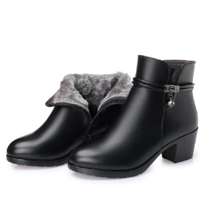 GKTINOO 2020 NEW Fashion Soft Leather Women Ankle Boots High Heels Zipper Shoes Warm Fur Winter Boots for Women Plus Size 35-43