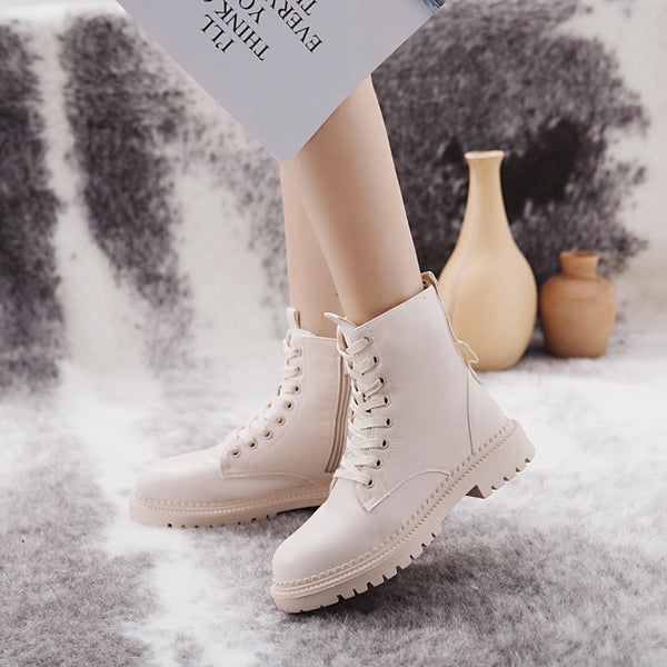 COOTELILI Fashion Zipper Flat Shoes Woman High Heel Platform PU Leather Boots Lace up Women Shoes Ankle Boots Girls 35-40