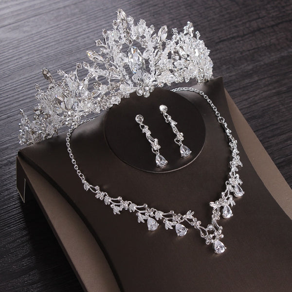 Luxury Heart Crystal Bridal Jewelry Sets Wedding Cubic Zircon Crown Tiaras Earring Choker Necklace Set African Beads Jewelry Set