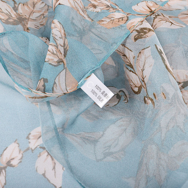 [BYSIFA] 100% Silk Chiffon Scarf Female Brand Leaves Design Grey Khaki Long Scarves Beach Shawls Fall Winter Women Neck Scarves