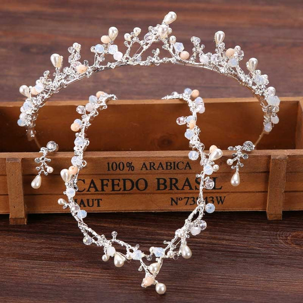 Wedding Jewelry Set For Bride Luxury Hair Jewelry Crystal Rhinestone Tiaras Hair Accessories Pearl Headpiece Leaf Tiara Headband