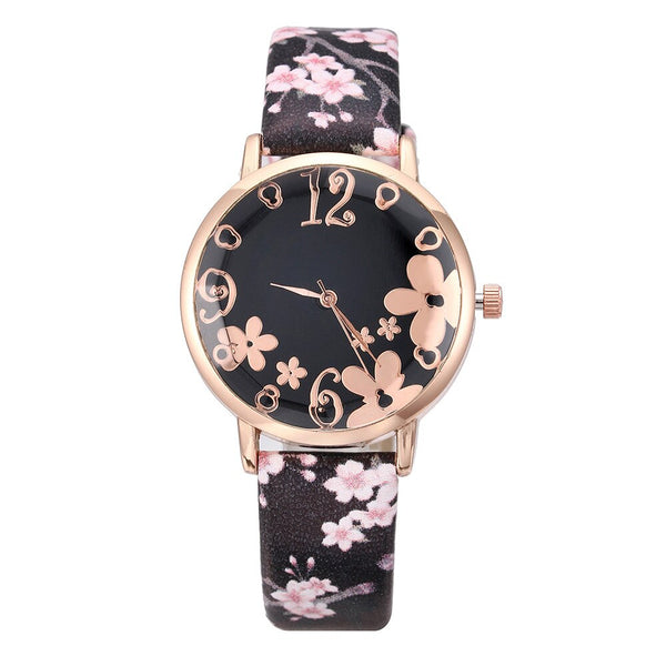 Girl Luxury Watch Women New Fashion Embossed Flowers Small Fresh Printed Belt Dial Watch Female Student Quartz Watch relogio *A