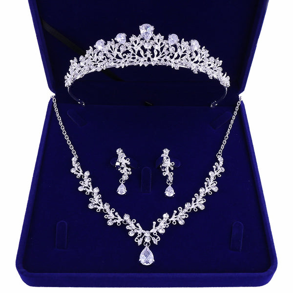 Luxury Noble Crystal Leaf Bridal Jewelry Sets Rhinestone Crown Tiaras Necklace Earrings Set for Bride African Beads Jewelry Sets