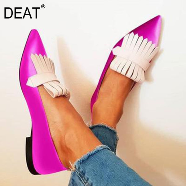 DEAT 2021 New Spring Autumn Fashion Women Shoes Tassel Flock Outdoor Pointed Toe Sexy Shallow Single Shoes Women