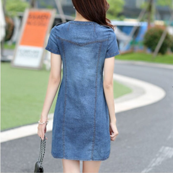 2021 New Arrival Plus Sizes V-neck Solid Denim Dresses Summer Women Denim Dresses Short Sleeves Loose A Word Dresses 176A 25