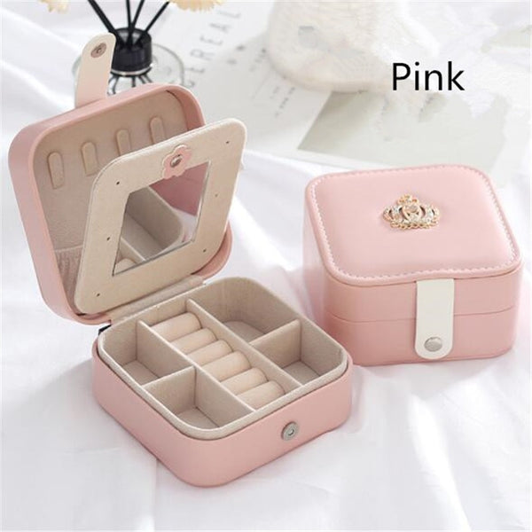 WE Double-layer Jewelry Box Large Capacity Leather Storage Jewelry Box Earring Ring Necklace with Mirror Watch Jewelry Organizer