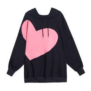 [EAM] Loose Fit Black Pattern Thick Sweatshirt New Hooded Long Sleeve Women Big Size Fashion Tide Autumn Winter 2020 1DD1062