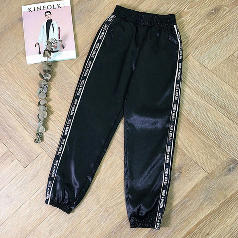 MoneRffi Big Pocket Satin Pants Women Glossy Sport Ribbon Trousers BF Style Harajuku Joggers Women Sports Pants