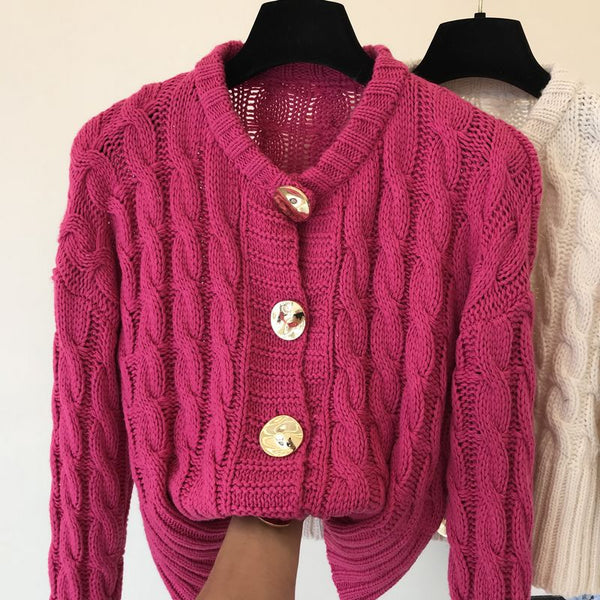 2021 Autumn New Thicker Trend Loose Long Sleeve Knitted Female Twist Sweater Loose Cardigan O-Neck Warm Fashion Jacket