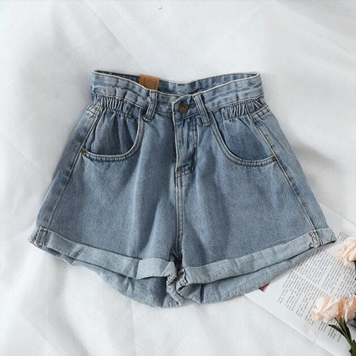 New 2021 Summer High Waist Denim Shorts Women Casual Loose Ladies Fashion Plus Size Elastic Waist Wide Leg Short Jeans Female