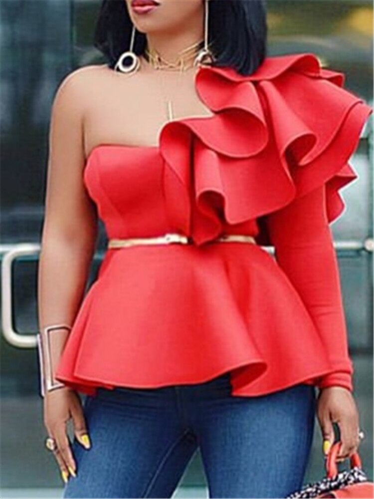 Women Blouse Tops Shirts One Shoulder Sexy Peplum Ruffles Slim Party Wear 2021 Summer New Fashion Elegant Ladies White Red Blue