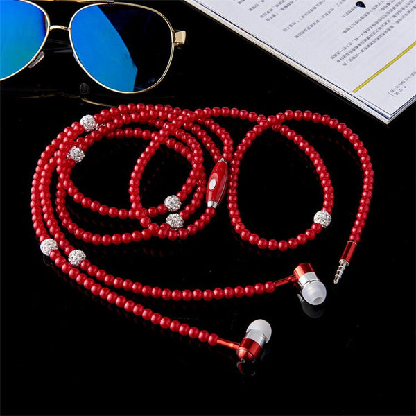 Necklace Wired Earphones 3.5mm In Ear Earbuds With Mic Controller Earphone For Girls Women Earbuds & Cases Cover TXTB1