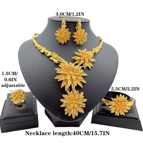 Nigeria Exaggerated Big Necklace Crystal Pendant Earrings Charm Bride Earrings Ring for Women Party Gift Fashion Jewelry Sets