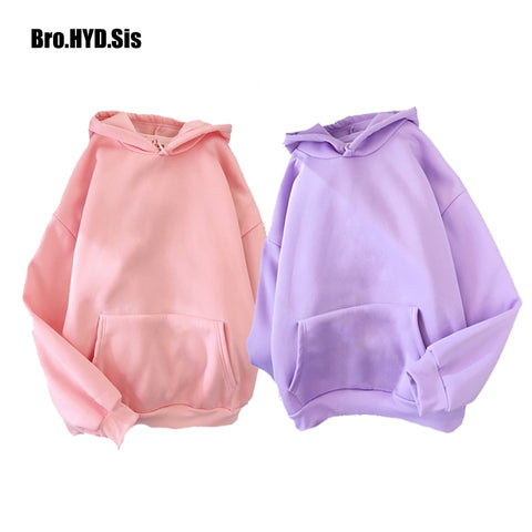Harajuku Solid Color Women Hoodies Pullover Simple Style Loose Fit Spring Autum Fleece Hooded Sweatshirt Pocket Woman Tops