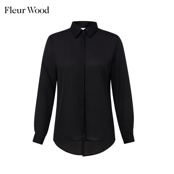 Fleur Wood Women Blouses Sexy Lace Backless Blouse Shirt Splice Lapel Womens Top And Blouses Autumn Female Office Shirt Women